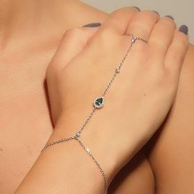 צמיד טבעת טיפה משובצת עם זירקון ירוק