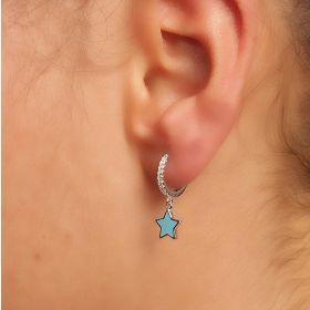 עגיל חישוק עם כוכב  עדין  בצבע כחול