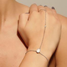 צמיד טבעת טיפה בצבע לבן
