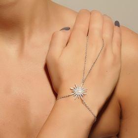 צמיד טבעת משובץ בזירקונים עם כוכב  משובץ בזירקונים
