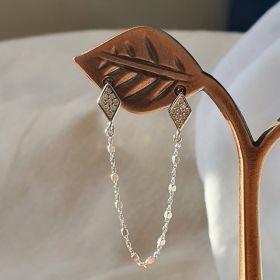 עגיל מעוינים משובצים ושרשרת