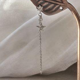 עגיל זירקון צמוד  לאוזן עם שרשרת נופלת וכוכב תלוי