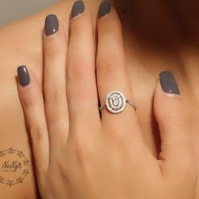 טבעת עיגול כפול עם זירקון מרכזי