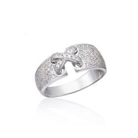 טבעת   קשר  מחוברת משובצת בזירקונים