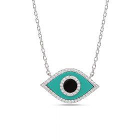שרשרת עין משובצת עם אבן  טורקיז  ואוניקס