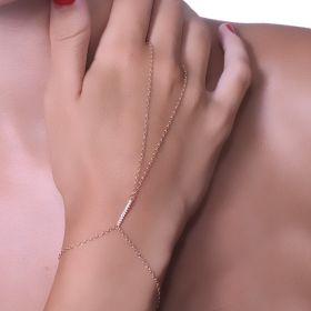 צמיד טבעת עם קו קטן משובץ
