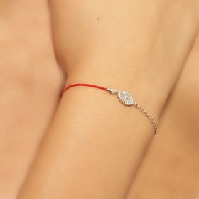 צמיד עין משובץ עם אם הפנינה משולב עם חוט אדום ושרשרת