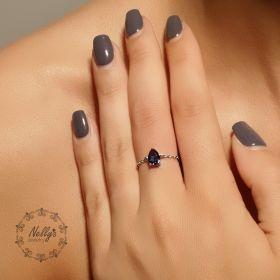טבעת שרשרת עם זירקון טיפה קטן  בצבע כחול ספיר