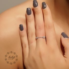 טבעת שרשרת זירקונים מחוברים