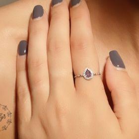 טבעת שרשרת עם זירקון טיפה בצבע סגול