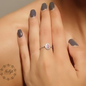 טבעת שרשרת עם זירקון טיפה בצבע ורוד
