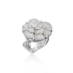 טבעת ורד   משובצת  בזירקונים