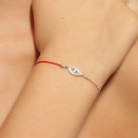 צמיד  עין עדינה משולב עם חוט אדום ושרשרת