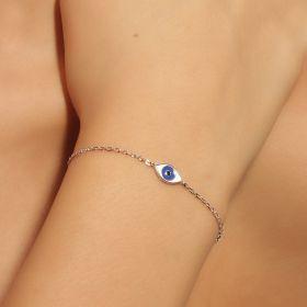 צמיד עין קטן מאד עם  אמייל כחול במרכז