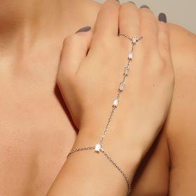 צמיד טבעת זירקוני מלבן מחוברים